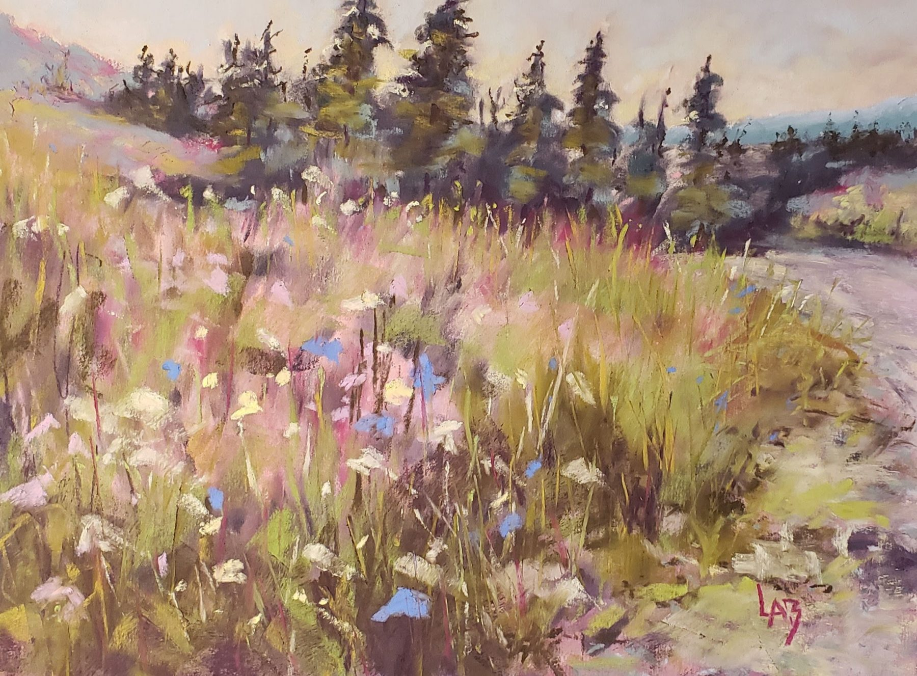 Police Outlet in July - Soft Pastel Painting by Lynda Baxter
